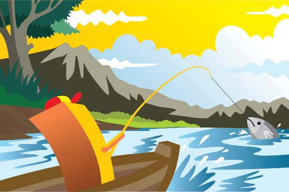 Scenery of Fishing Graphic Illustrations By emnazar2009