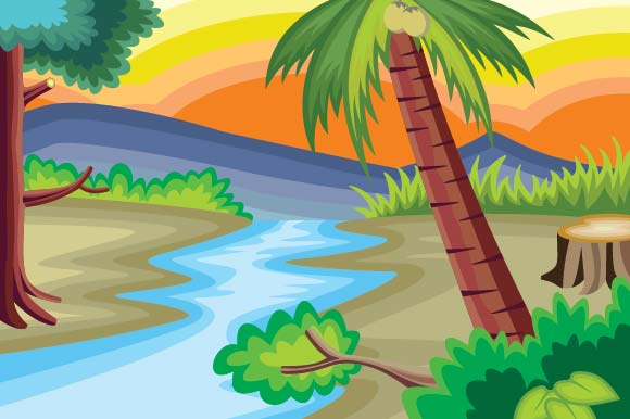 Scenery of River Graphic Illustrations By emnazar2009