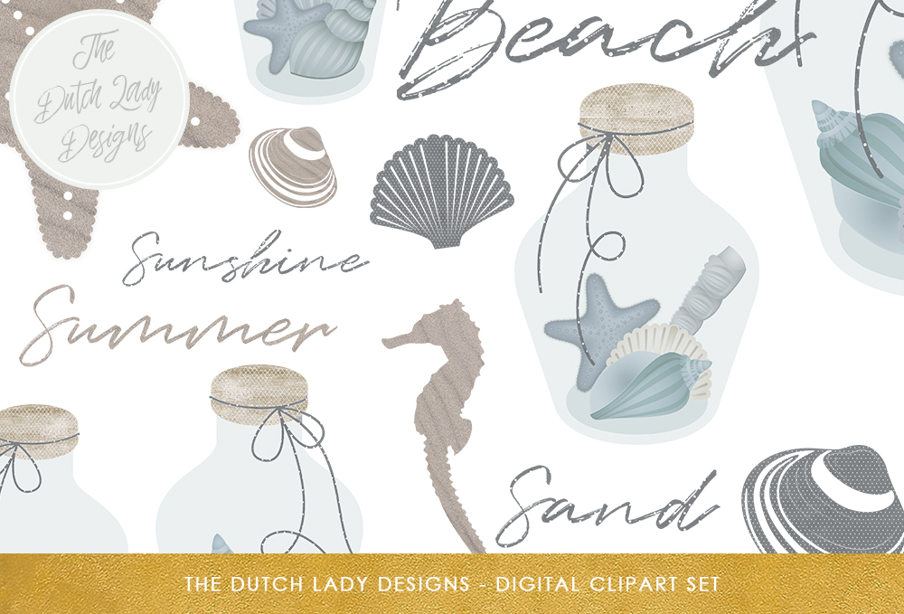Print on Demand: Sea & Beach Clipart Set - Glass Bottles, Seashells, Seahorse, Starfish, Sand Graphic Illustrations By daphnepopuliers