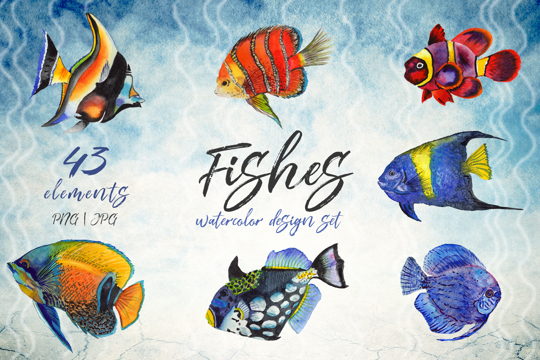 Print on Demand: Sea Fishes Watercolor Set Graphic Illustrations By MyStocks