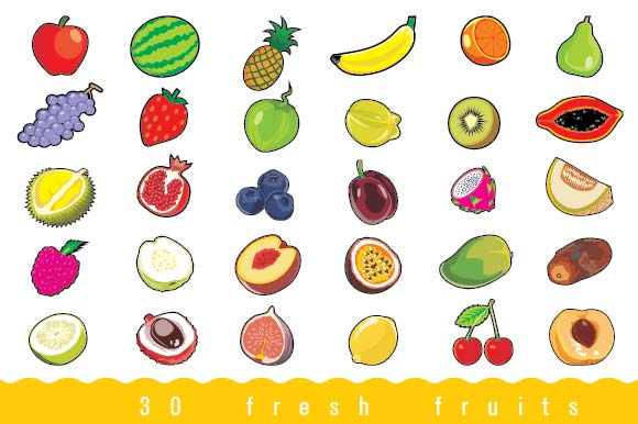 Set of 30 Fresh Fruits Graphic Objects By emnazar2009