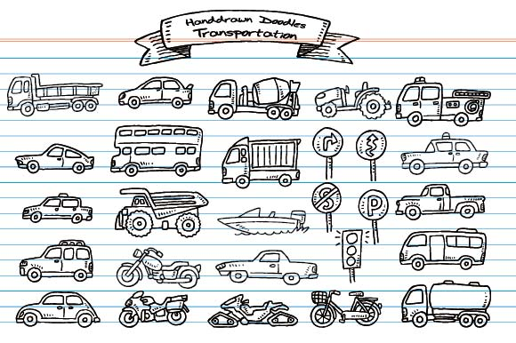 Set of Handdrawn Doodle Transportation Graphic Objects By emnazar2009
