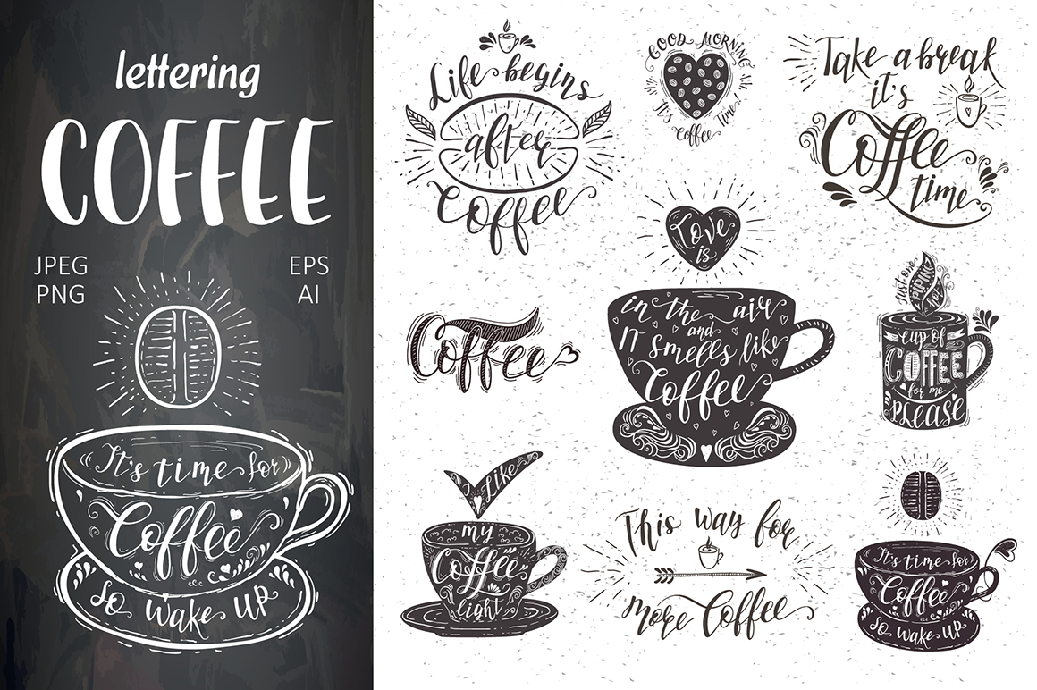 Coffee Quotes: Set Of Coffee Quotes Graphic By Design Work