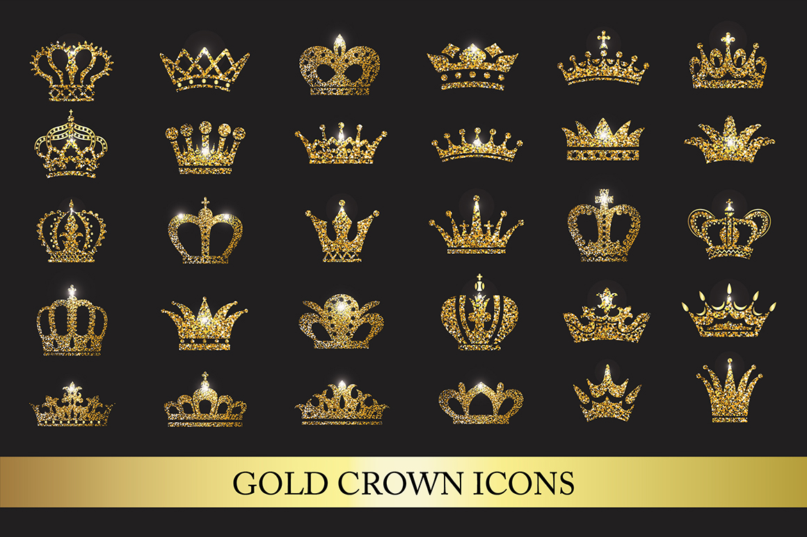 Set of Gold Crown Icons. Graphic Icons By Design Work