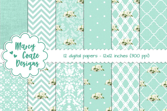 Shabby Backgrounds – Aqua Graphic Patterns By MarcyCoateDesigns