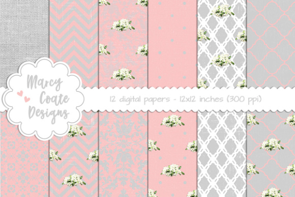 Shabby Backgrounds – Pink Graphic Patterns By MarcyCoateDesigns