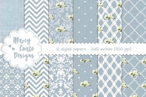 Shabby Backgrounds - Blue Graphic Patterns By MarcyCoateDesigns