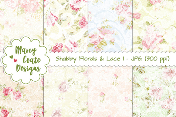 Shabby Florals & Lace Backgrounds Set 1 Graphic Patterns By MarcyCoateDesigns