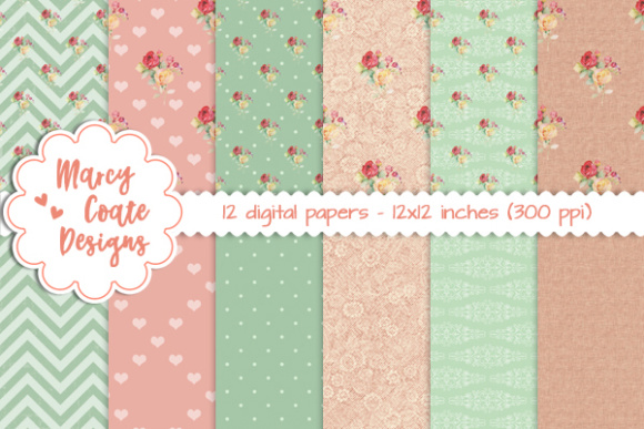 Shabby Rose, Peach & Green Patterns Graphic Backgrounds By MarcyCoateDesigns