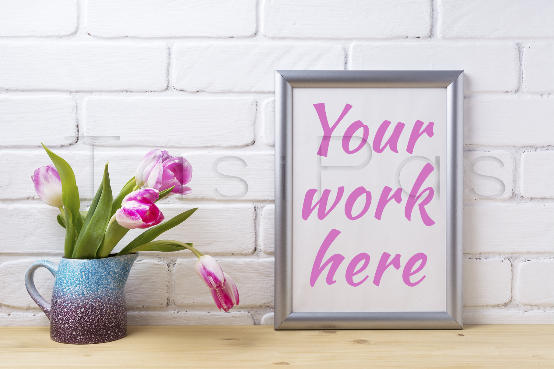 Print on Demand: Silver Frame Mockup with Pink Tulip in Purple Blue Vase Graphic Product Mockups By TasiPas