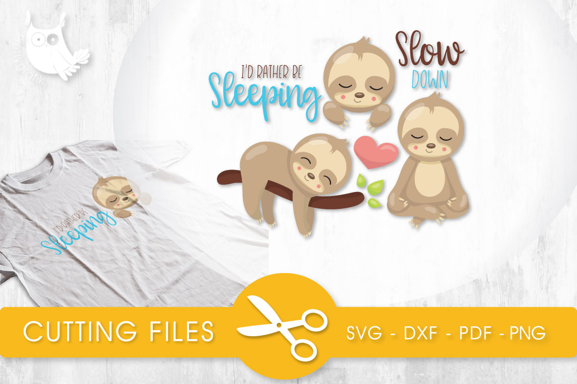 Sleeping Sloths Graphic Crafts By PrettyCuttables