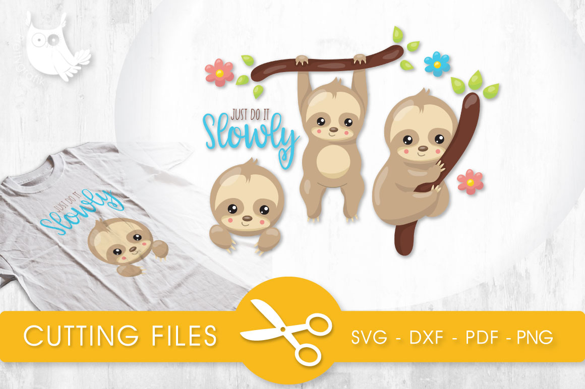 Slow Sloths Graphic Crafts By PrettyCuttables