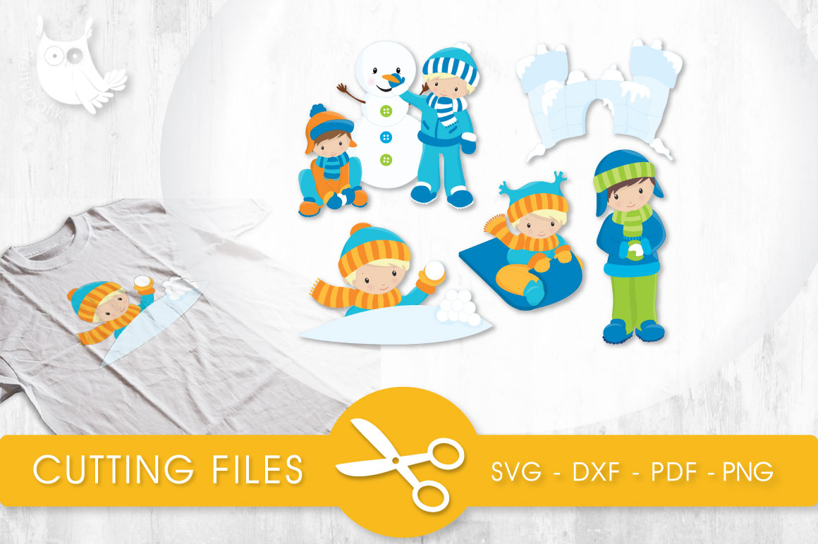Snow Fun Boys Gráfico Crafts Por PrettyCuttables