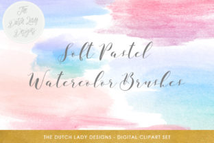Print on Demand: Soft Pastel Watercolor Paint Brush Clipart - in Pink & Blue Graphic Crafts By daphnepopuliers