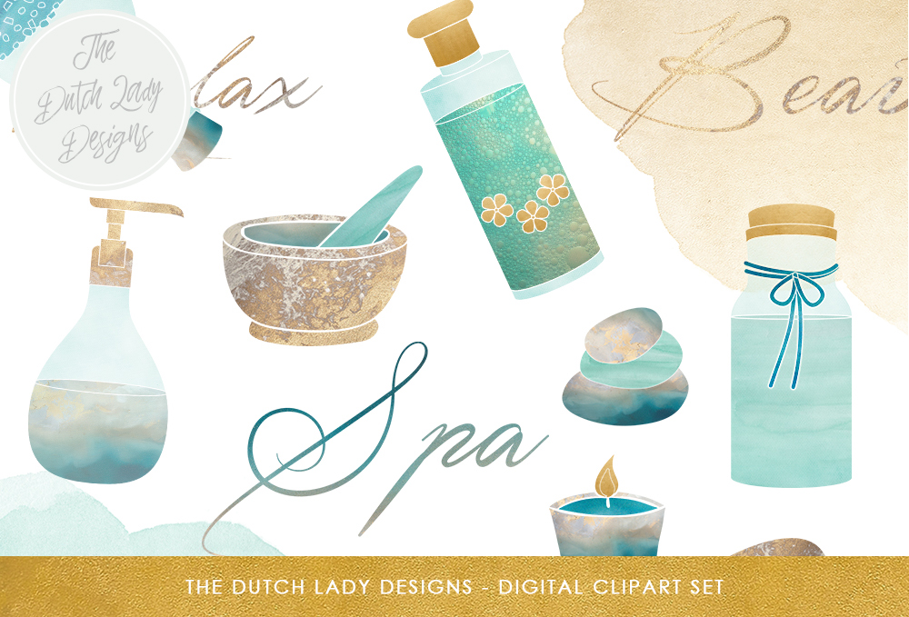 Print on Demand: Spa Retreat Clipart Set - in Turquois & Gold - Cosmetics, Beauty, Relax, Candle, Pebbles and Text Images Graphic Illustrations By daphnepopuliers