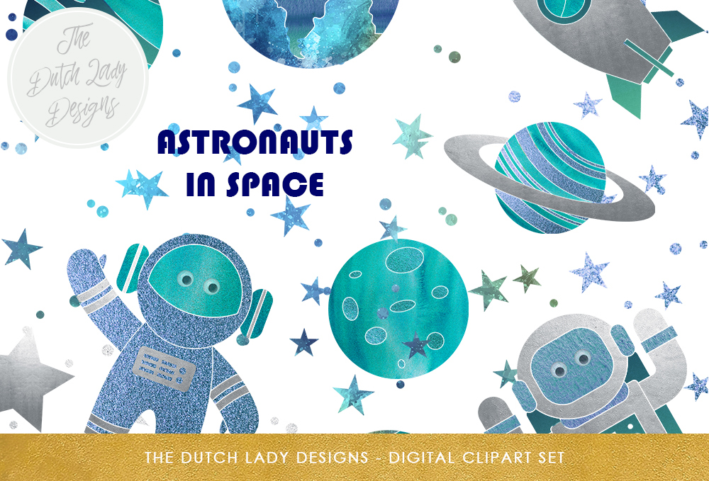 Download Free Space Galaxy Clipart Set Cute Astronaut Rocket Planet And for Cricut Explore, Silhouette and other cutting machines.