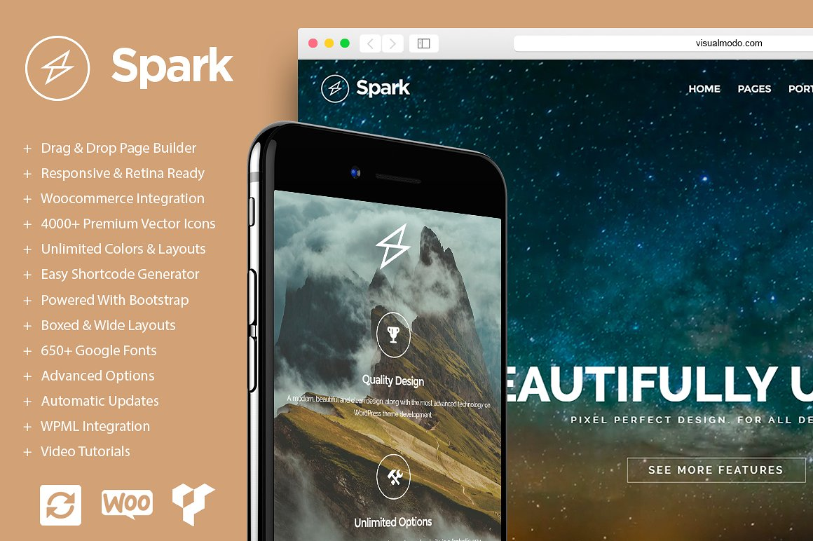 Spark Drag & Drop WordPress Theme Graphic WordPress By Visualmodo WordPress Themes