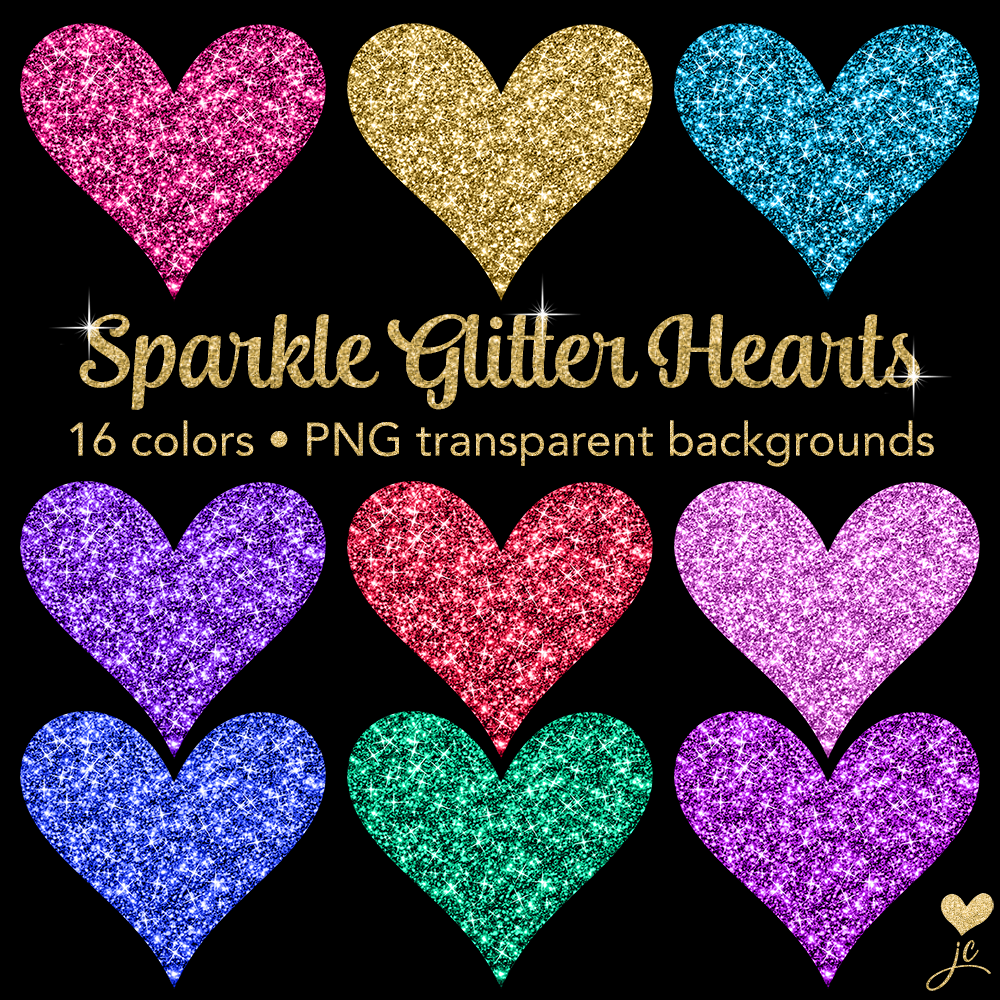 Print on Demand: Sparkle Glitter Hearts Graphic Objects By JulieCampbellDesigns