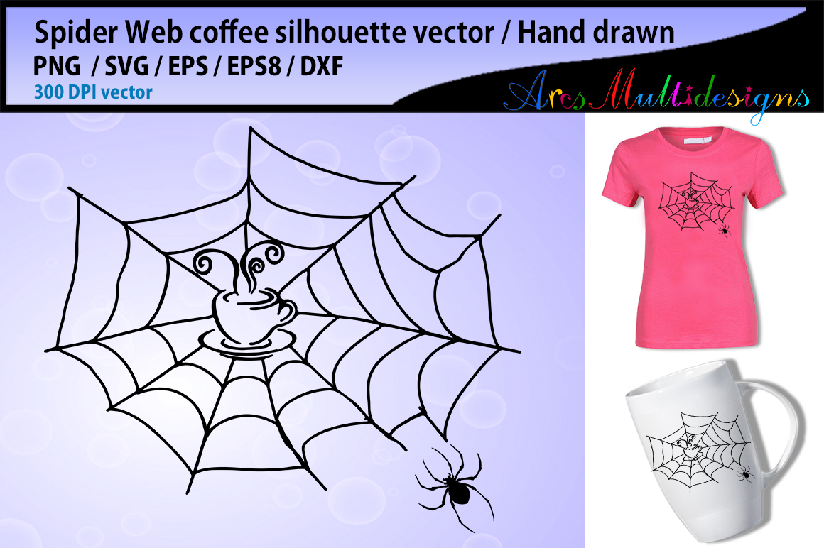 Print on Demand: Spider Web Coffee Svg Silhouette Graphic Illustrations By Arcs Multidesigns - Image 1