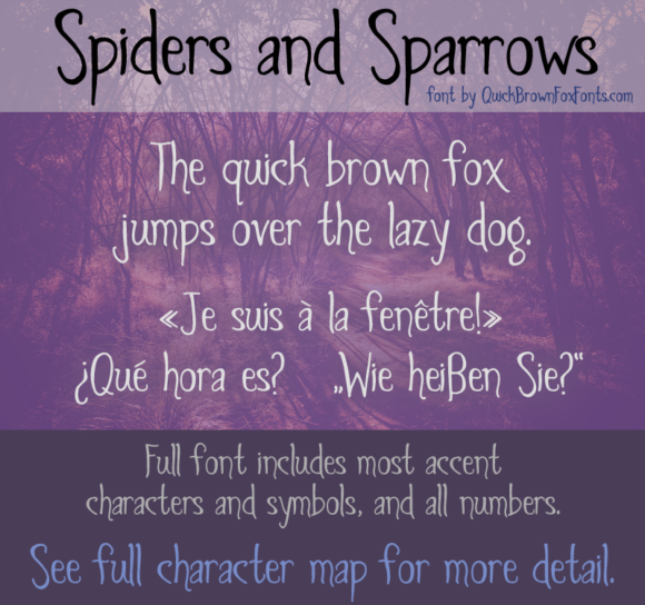 Print on Demand: Spiders and Sparrows Decorative Font By Quick Brown Fox Fonts
