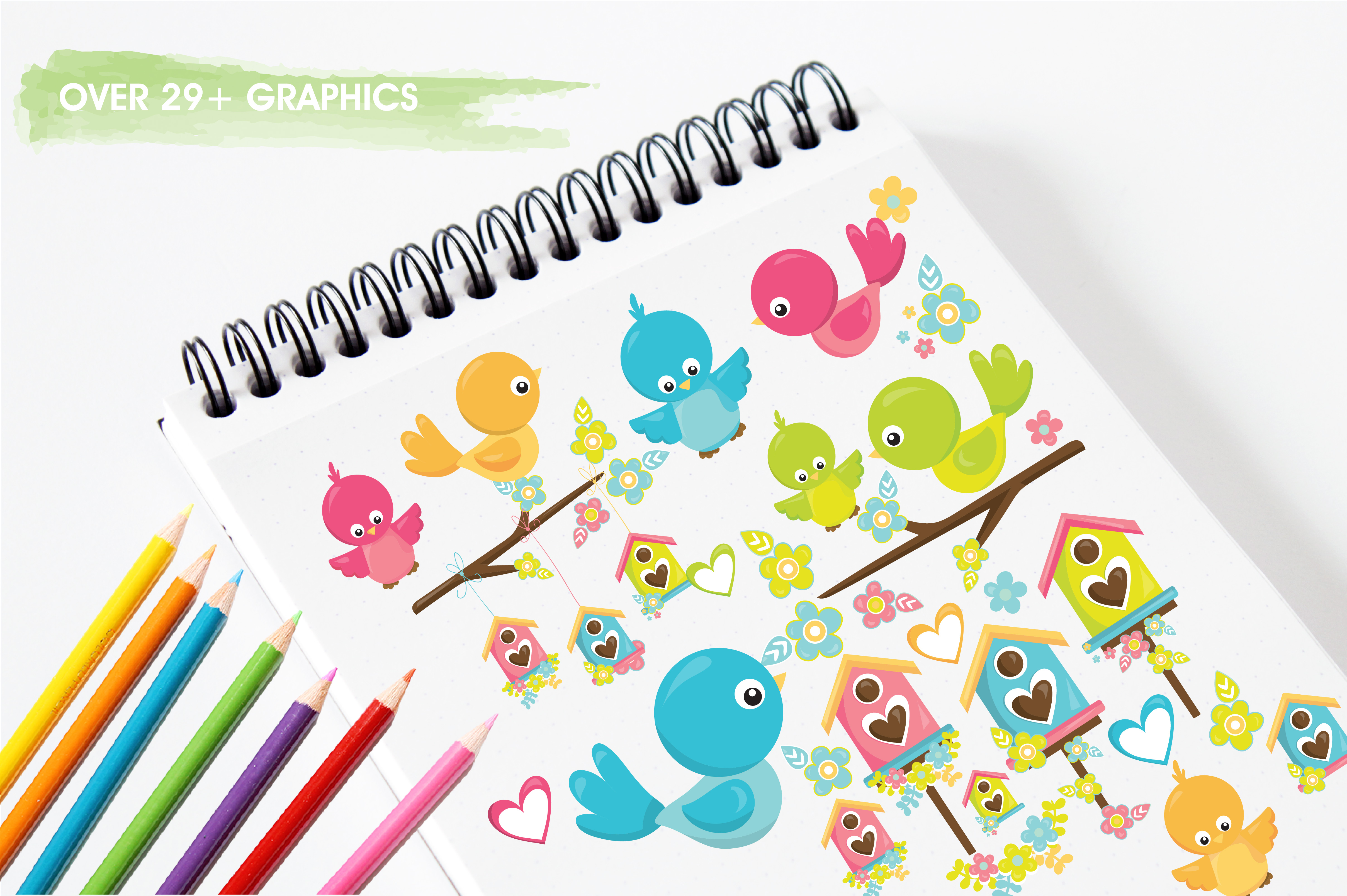 Print on Demand: Spring Birds Graphic Illustrations By Prettygrafik - Image 3