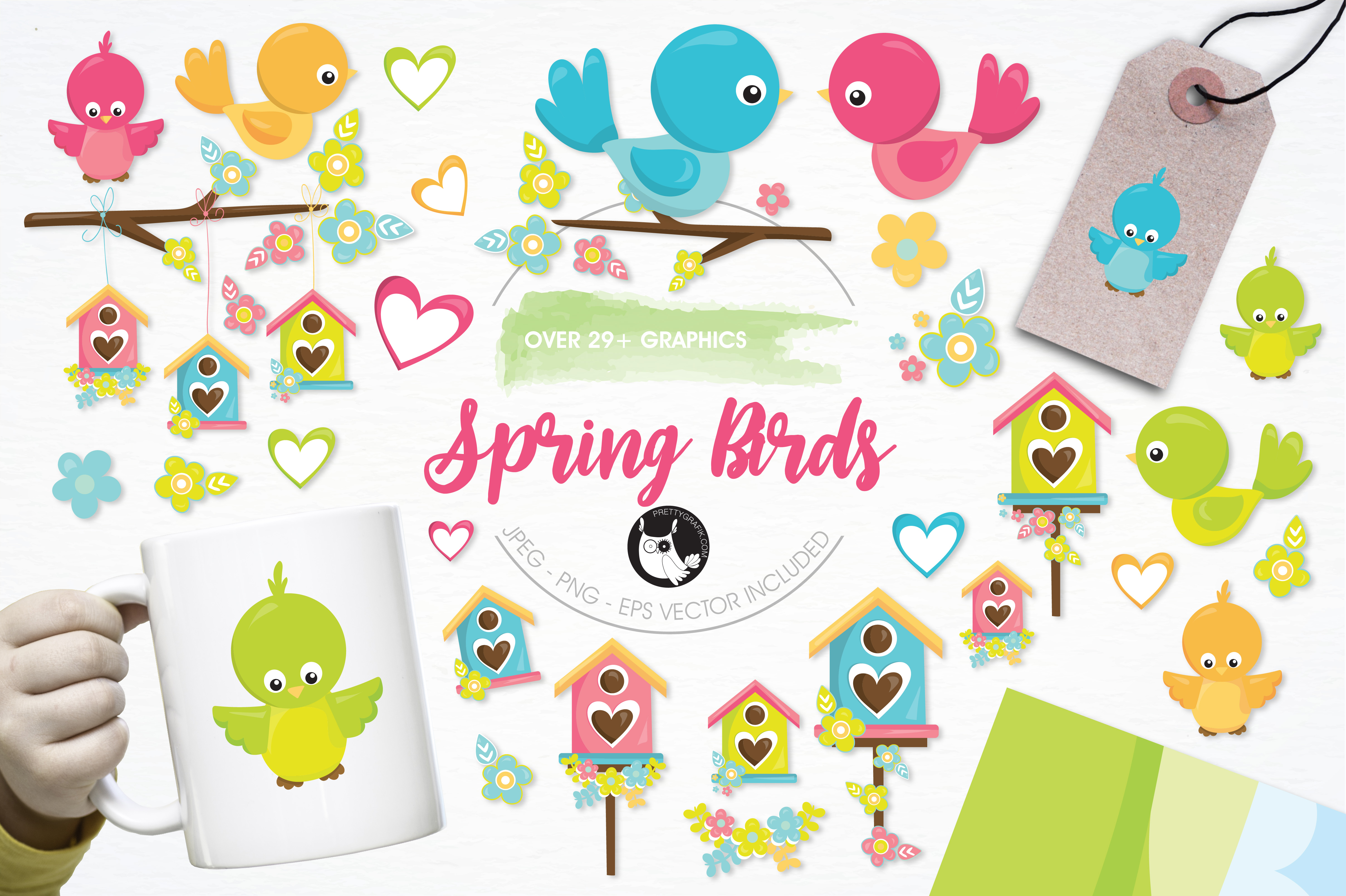 Print on Demand: Spring Birds Graphic Illustrations By Prettygrafik - Image 1