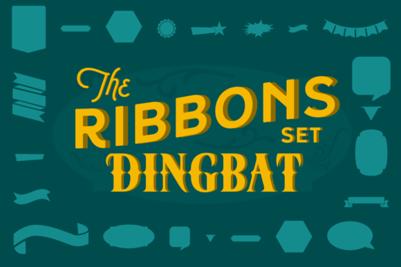 Print on Demand: Stencil Ribbons Dingbat Dingbats Font By Creative Fabrica Fonts