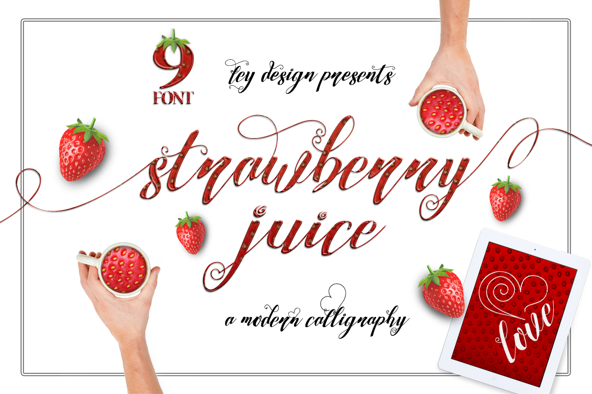 Print on Demand: Strawberry Script & Handwritten Font By feydesign