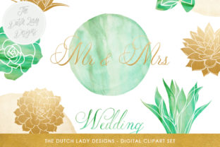 Succulent Wedding Clipart Set - Watercolor & Golden Plants, Text and Stains Graphic By daphnepopuliers
