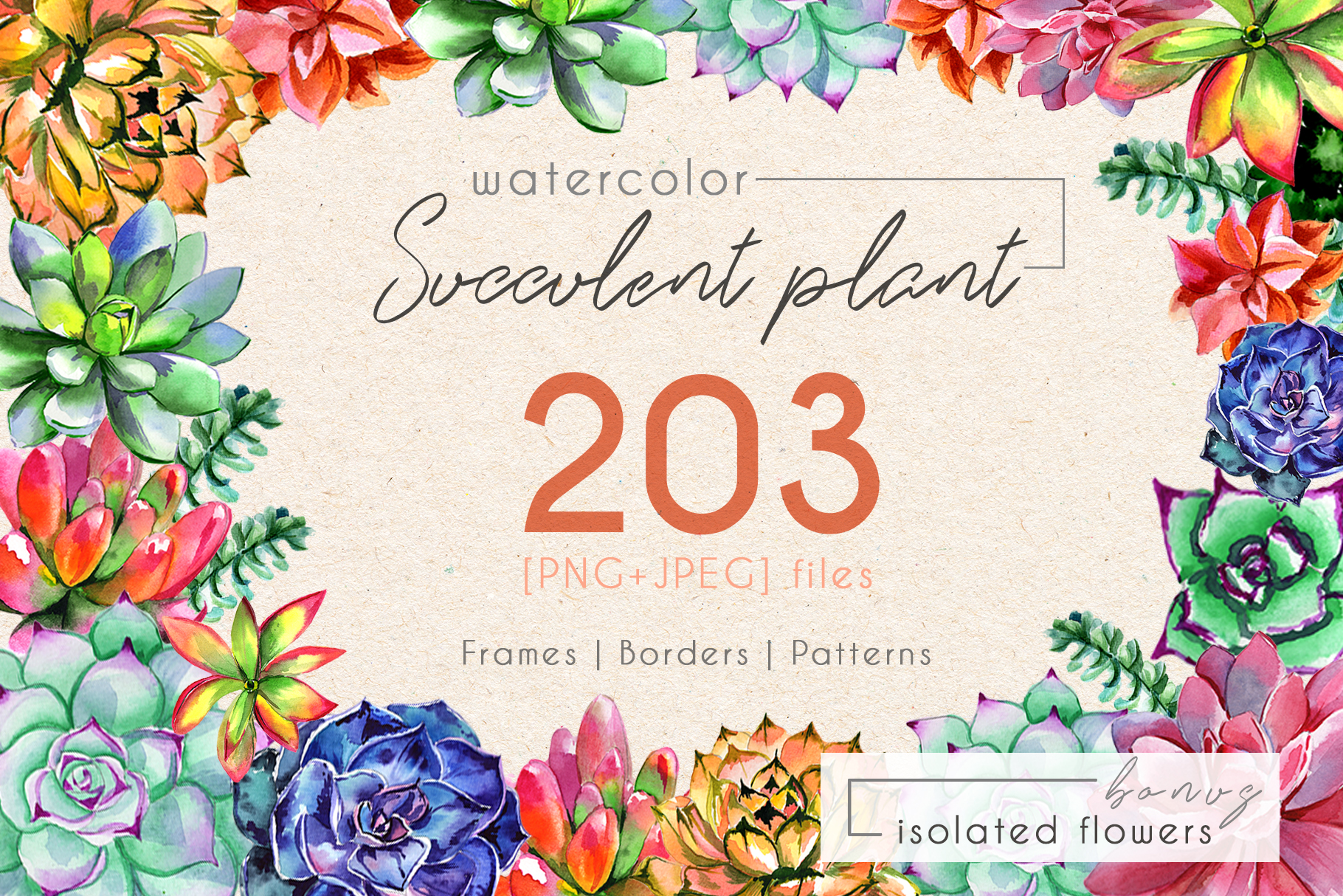 Print on Demand: Succulent Plant Watercolor Set Gráfico Ilustraciones Por MyStocks