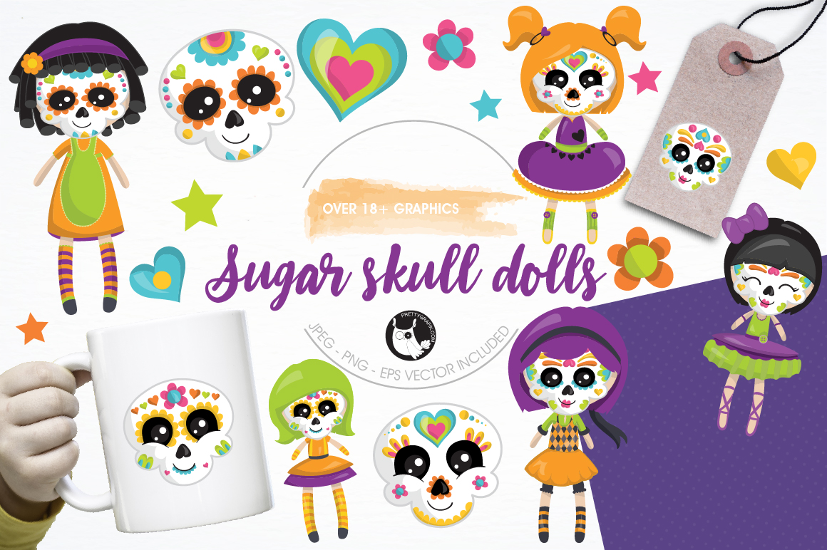 Print on Demand: Sugar Skull Dolls Graphic Illustrations By Prettygrafik