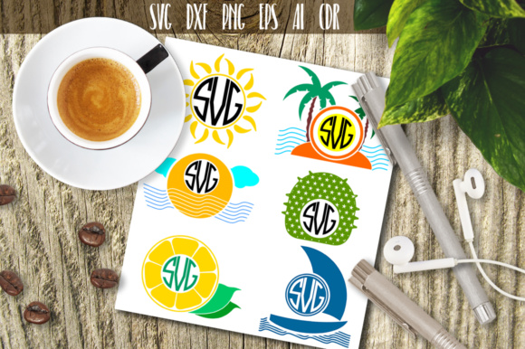 Download Free Summer Beach Silhouette Monogram Graphic By Vector City Skyline Creative Fabrica for Cricut Explore, Silhouette and other cutting machines.