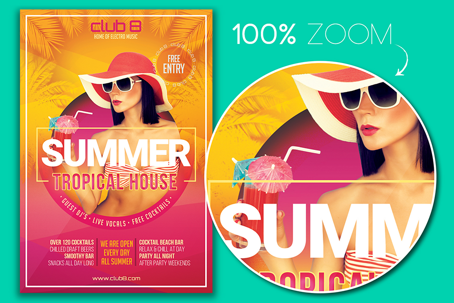 summer tropical house flyer template graphic by designroom1229
