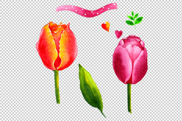 Summer Colorful Tulips PNG Watercolor Set Graphic By MyStocks Image 2