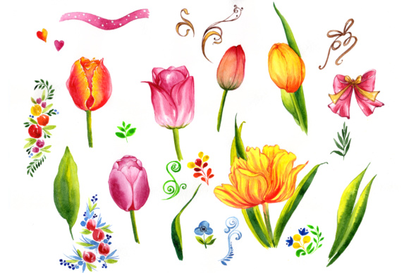 Summer Colorful Tulips PNG Watercolor Set Graphic By MyStocks Image 1