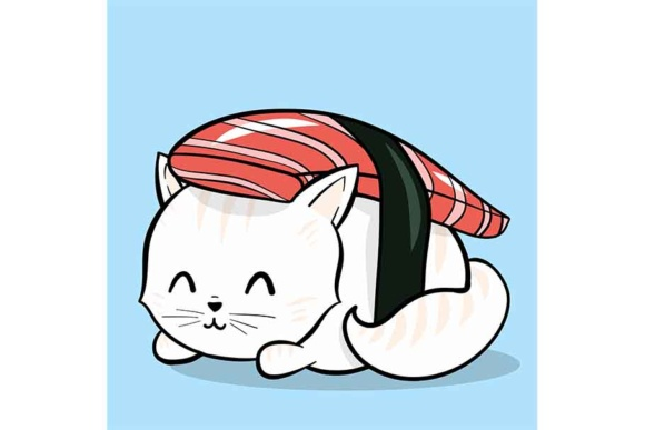 Sushi Cat Roll Graphic Illustrations By Sasha_Brazhnik