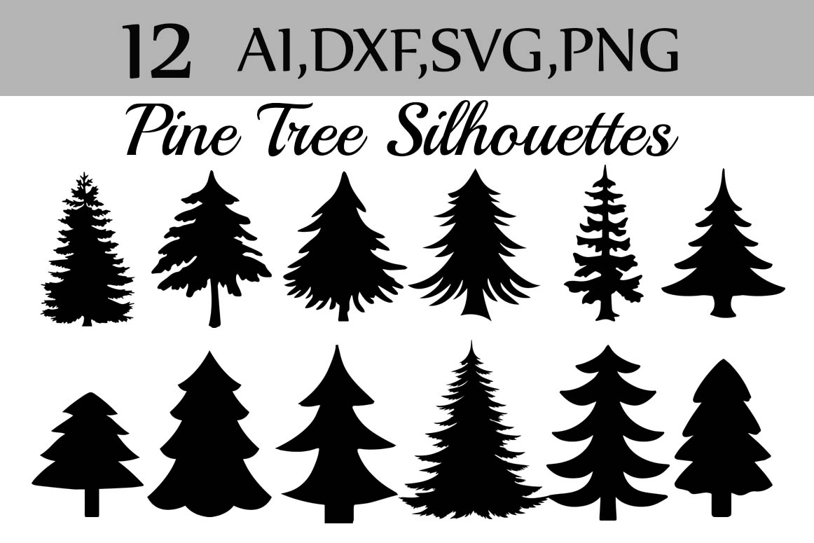 Svg Pine Tree Clipart,SILHOUETTES PINE TREE, Christmas Tree Clipart Graphic By prettydesignstudio