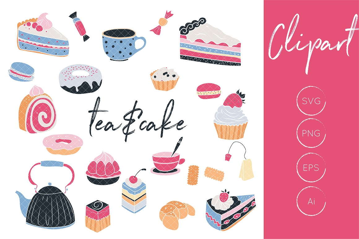 Download Free Tea Clipart Cake Clipart Tea And Cake Clipart Cupcake Clipart for Cricut Explore, Silhouette and other cutting machines.
