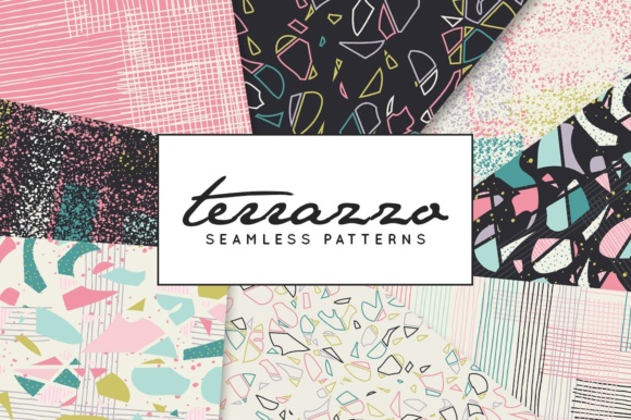 Print on Demand: Terrazzo Inspired Digital Paper Pack - Vector Patterns Graphic Patterns By illuztrate