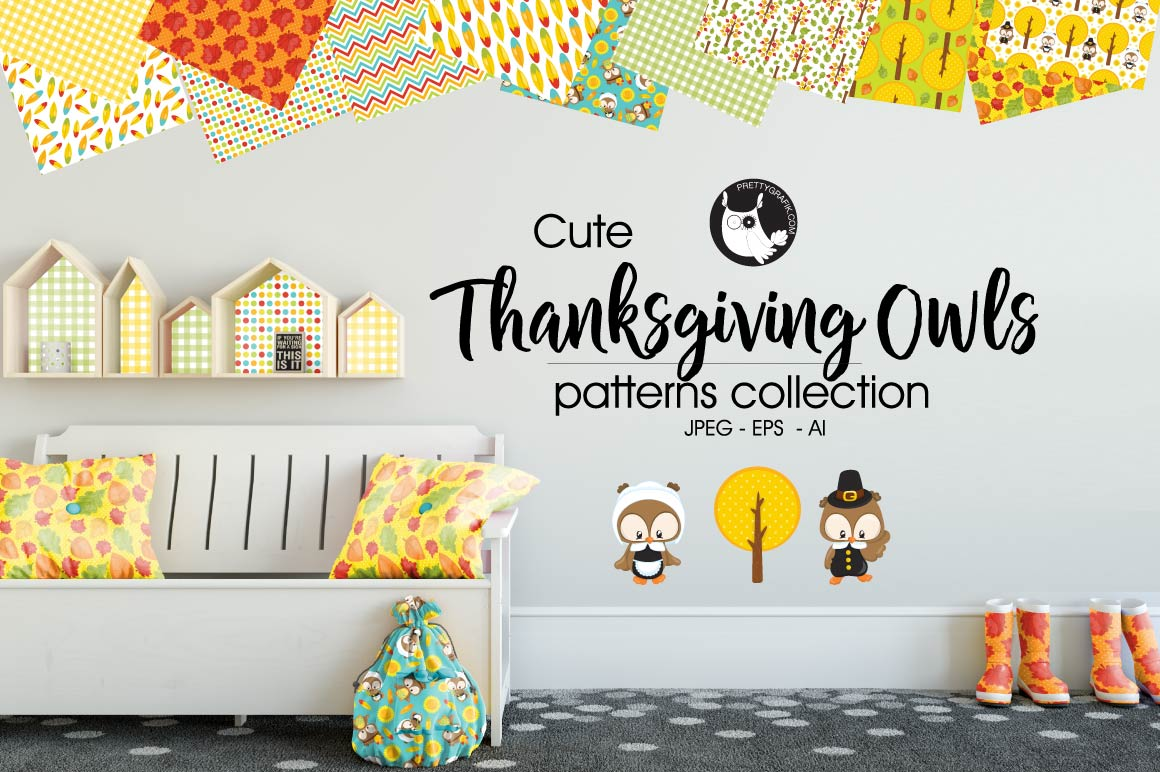 Print on Demand: Thanksgiving Owls Graphic Patterns By Prettygrafik - Image 1