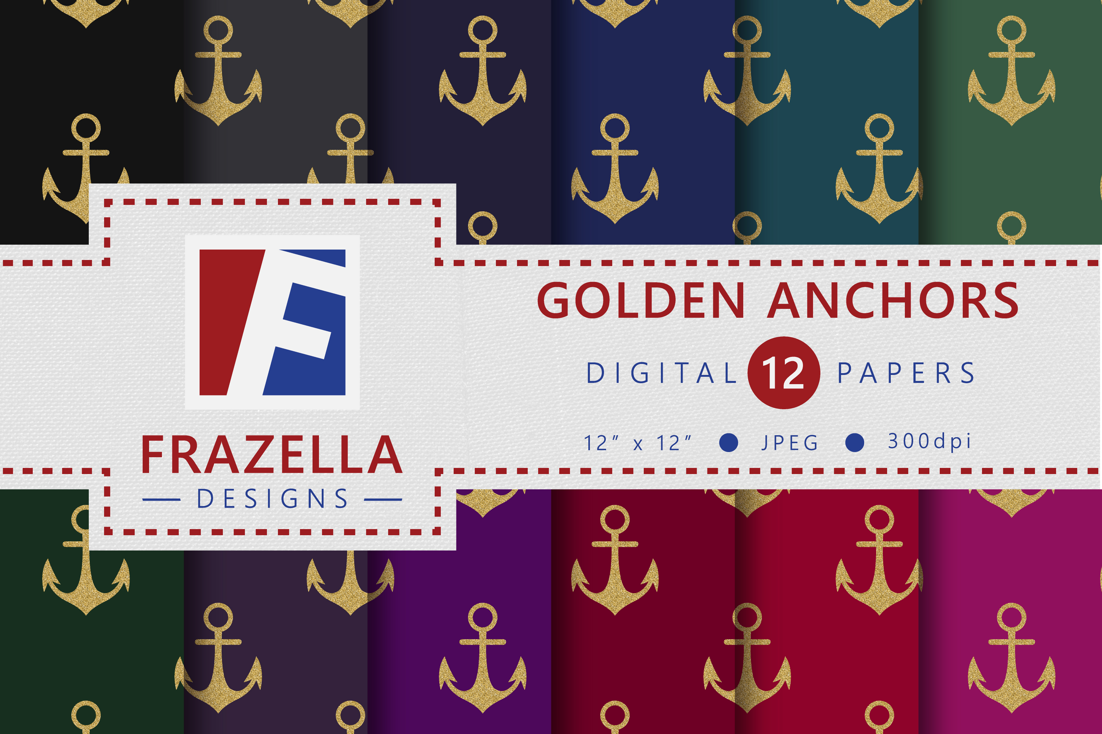 Download Free The Golden Anchors Digital Paper Collection Graphic By Frazella for Cricut Explore, Silhouette and other cutting machines.