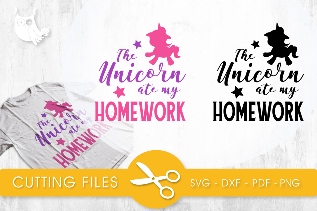 Download Free The Unicorn Ate My Homework Graphic By Prettycuttables for Cricut Explore, Silhouette and other cutting machines.