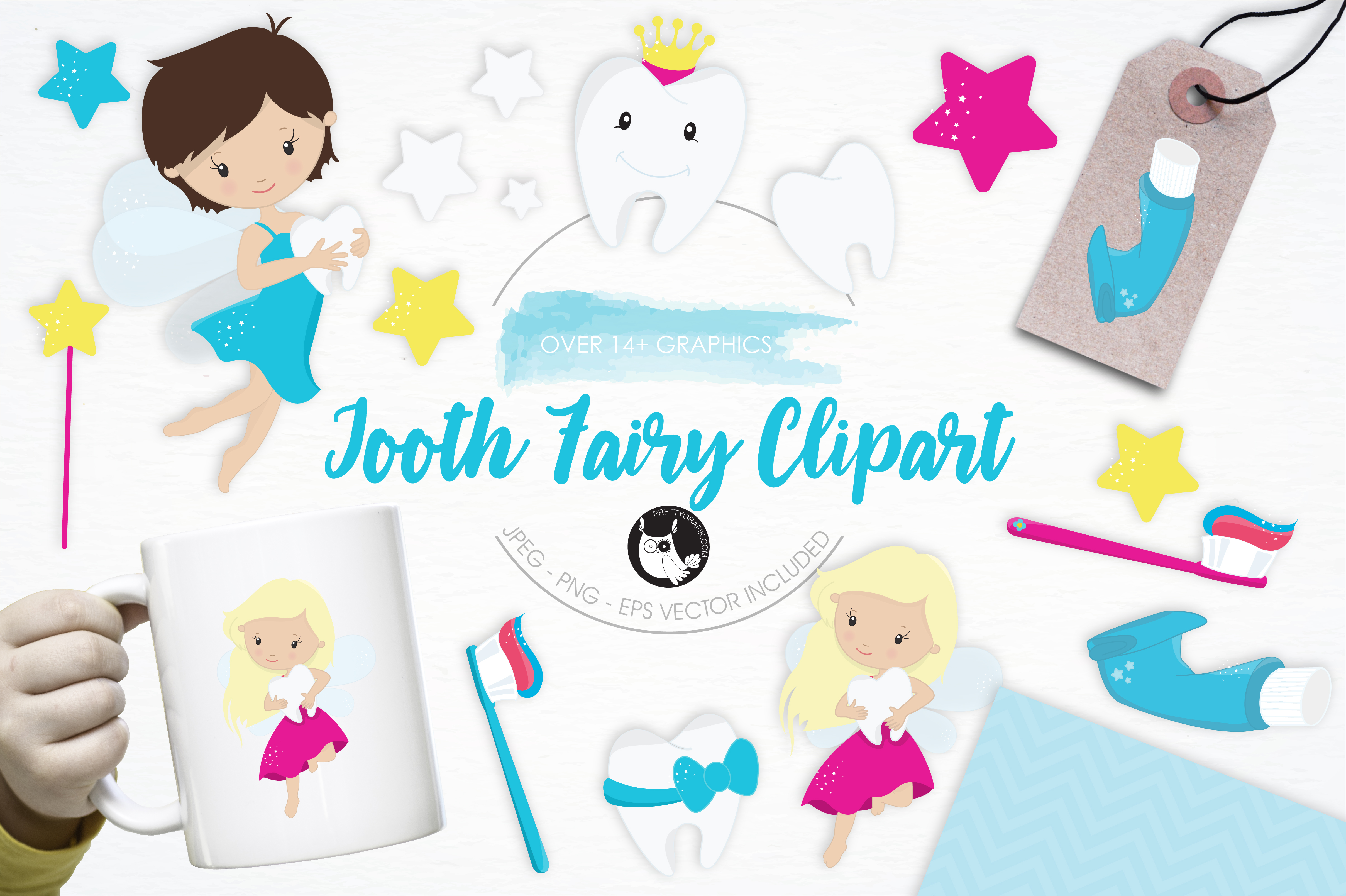 Print on Demand: Tooth Fairy Clipart Graphic Illustrations By Prettygrafik