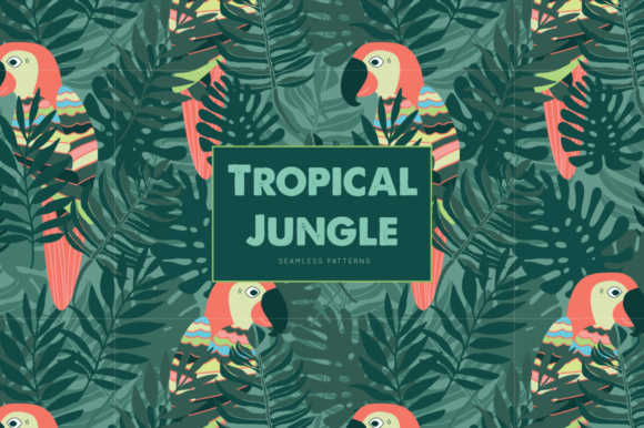 Print on Demand: Tropical Jungle Seamless Patterns Graphic Patterns By illuztrate