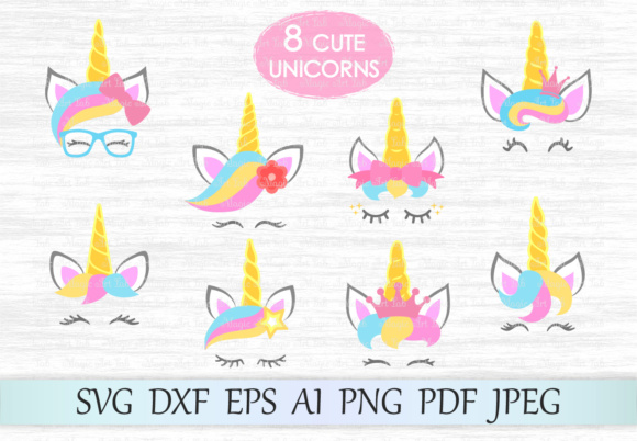 Download Free Unicorn Heads Graphic By Magicartlab Creative Fabrica for Cricut Explore, Silhouette and other cutting machines.