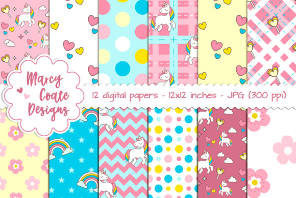 Unicorn Love Backgrounds Graphic Patterns By MarcyCoateDesigns