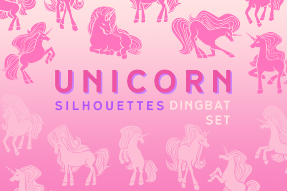 Download Free Unicorn Silhouettes Dingbat Font By Creative Fabrica Fonts SVG Cut Files