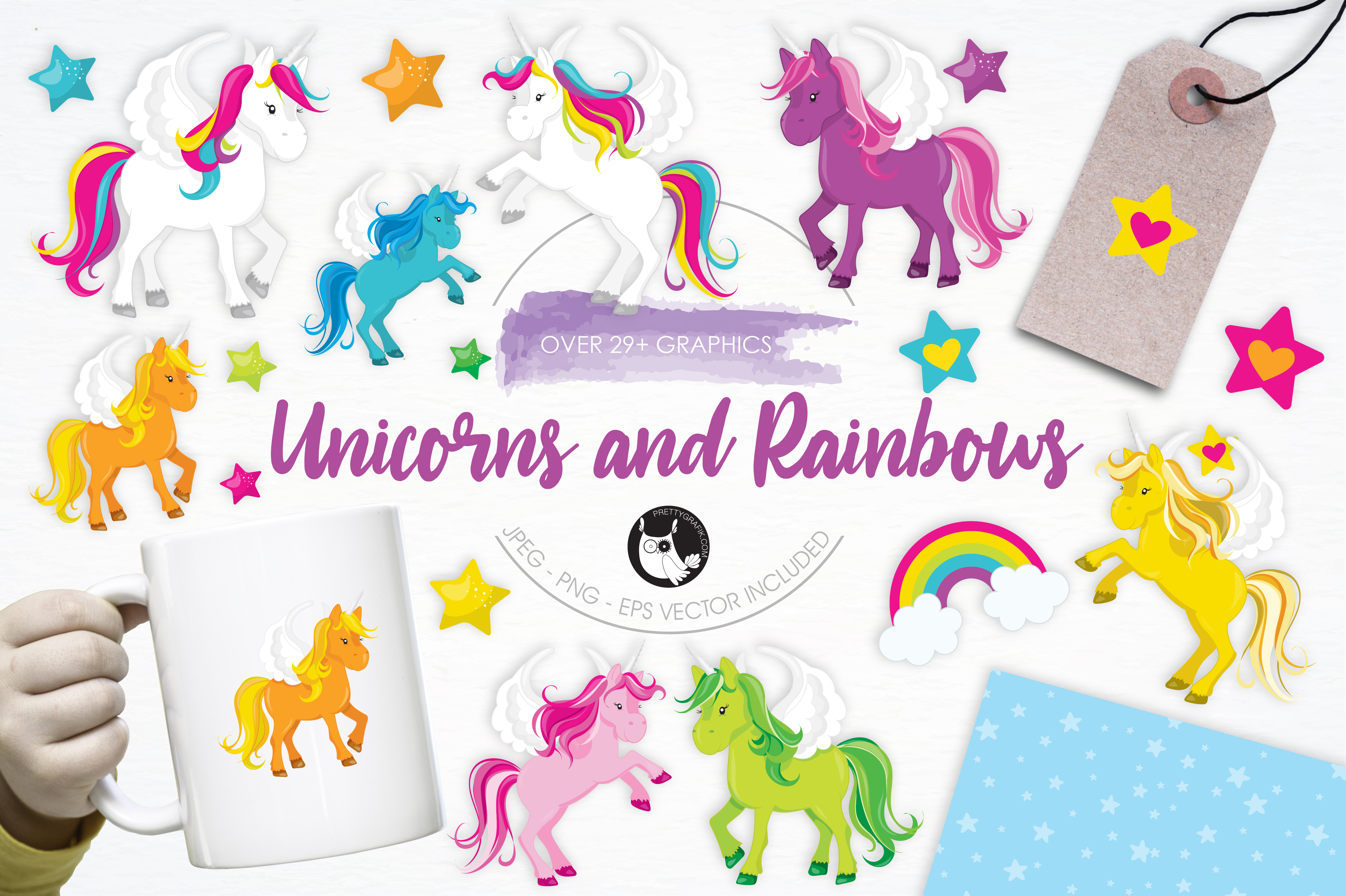 Print on Demand: Unicorns and Rainbows Graphic Illustrations By Prettygrafik