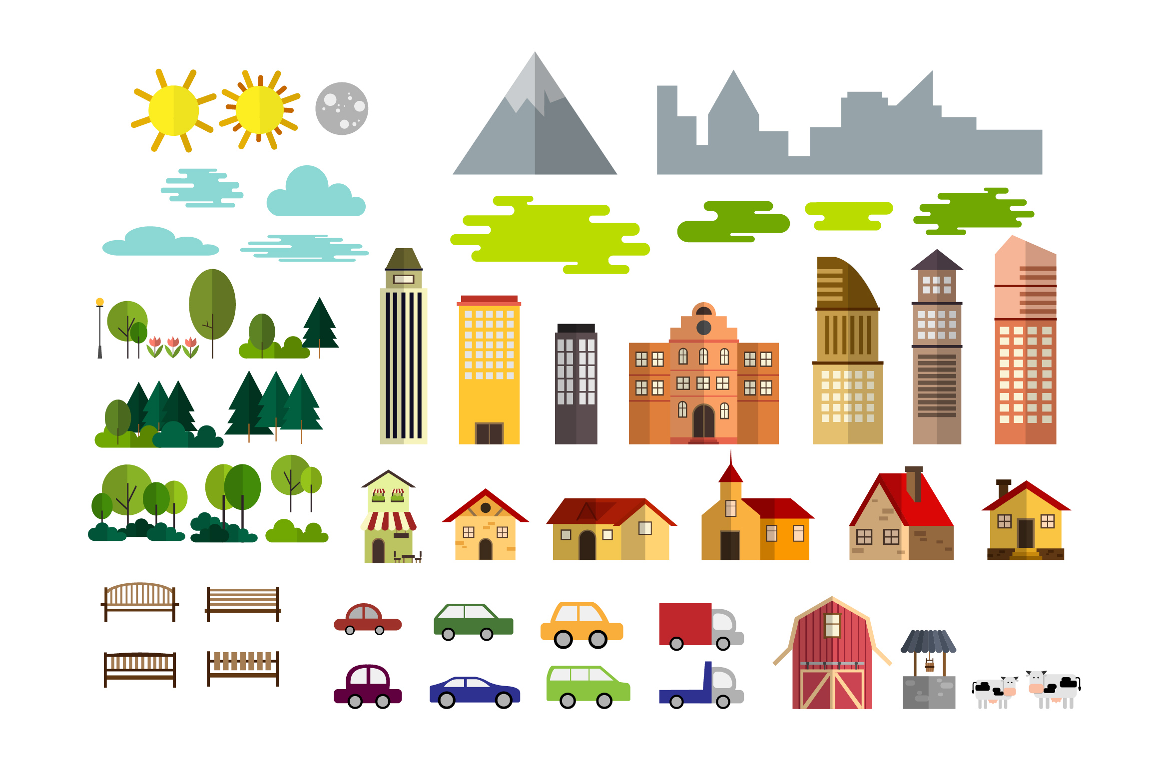 Download Free Urban Village Landscape Set Graphic By Storictype Creative for Cricut Explore, Silhouette and other cutting machines.