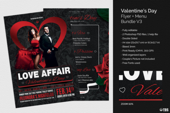 Download Free Valentines Day Flyer Menu Bundle Graphic By Thatsdesignstore for Cricut Explore, Silhouette and other cutting machines.